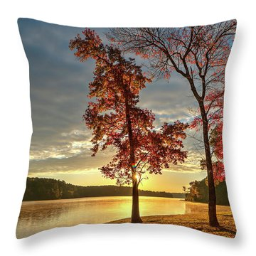 East Texas Autumn Sunrise At The Lake Throw Pillow