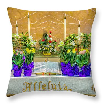 Throw Pillow featuring the photograph Easter Alter And Flowers by Nick Zelinsky
