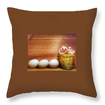 Easter Basket Of Pink Chicks With Eggs Throw Pillow