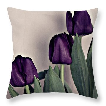 A Display Of Tulips Throw Pillow by Sherry Hallemeier