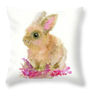 Throw Pillow featuring the painting Easter Bunny by Lauren Heller