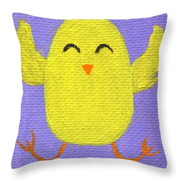 Throw Pillow featuring the painting Easter Chicky by Jamie Frier