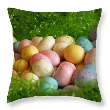 Easter Egg Nest Throw Pillow by Methune Hively