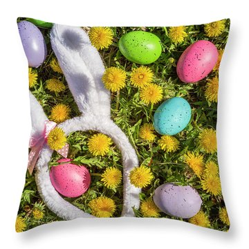 Throw Pillow featuring the photograph Easter Eggs And Bunny Ears by Teri Virbickis