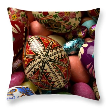 Easter Eggs Throw Pillow by Garry Gay