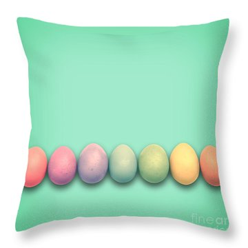 Easter Eggs, Green Throw Pillow