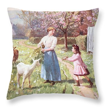 Easter Eggs In The Country Throw Pillow by Victor Gabriel Gilbert
