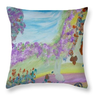 Easter Fairies Throw Pillow