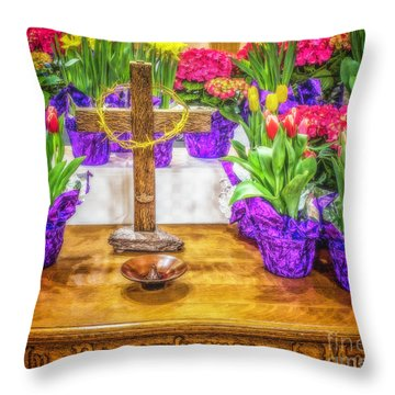 Throw Pillow featuring the photograph Easter Flowers by Nick Zelinsky