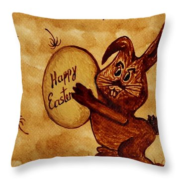 Easter Golden Egg For You Throw Pillow by Georgeta  Blanaru