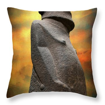 Throw Pillow featuring the photograph Easter Island Moai by Adrian Evans