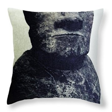 Throw Pillow featuring the painting Easter Island Stone Statue by Eric  Schiabor