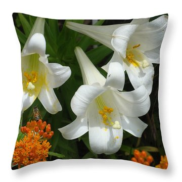 Easter Lilies And Butterfly Weed Throw Pillow