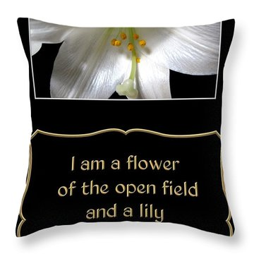 Throw Pillow featuring the photograph Easter Lily With Song Of Songs Quote by Rose Santuci-Sofranko