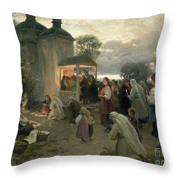 Easter Matins Throw Pillow by Nikolai Pimonenko