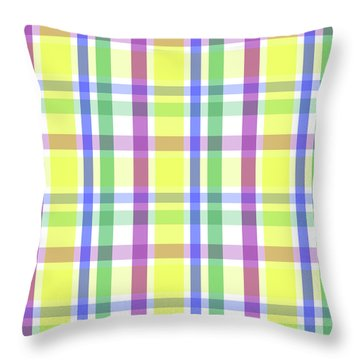 Throw Pillow featuring the digital art Easter Pastel Plaid Striped Pattern by Shelley Neff