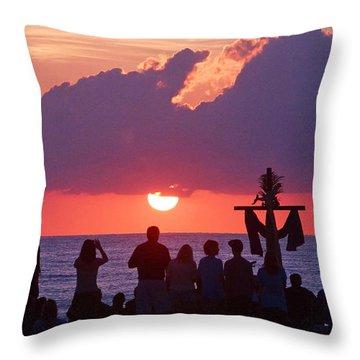 Easter Sunrise Beach Service Throw Pillow