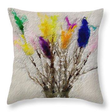 Easter Tree- Abstract Art By Linda Woods Throw Pillow