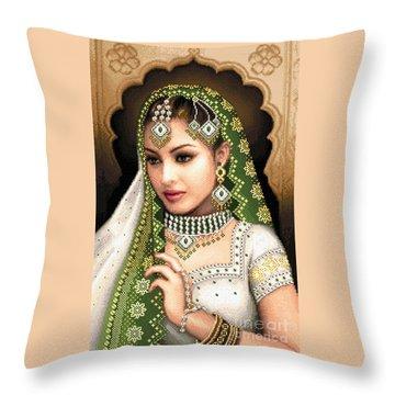 Eastern Beauty In Green Throw Pillow by Stoyanka Ivanova