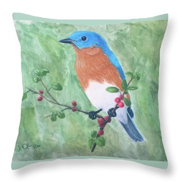 Throw Pillow featuring the painting Eastern Bluebird by Joseph Ogle