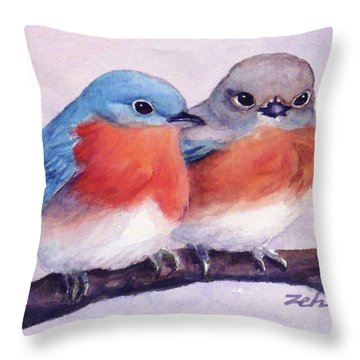 Eastern Bluebirds Throw Pillow