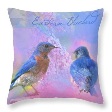 Throw Pillow featuring the photograph Eastern Bluebirds Watercolor Photo by Heidi Hermes