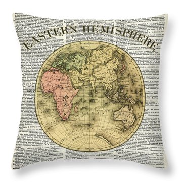 Eastern Hemisphere Earth Map Over Dictionary Page Throw Pillow by Jacob Kuch