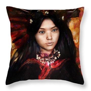 Eastern Light Our Lady Throw Pillow