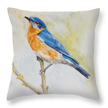 Throw Pillow featuring the painting Eastern Mountain Bluebird by Robert Decker