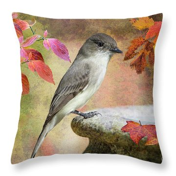 Throw Pillow featuring the photograph Eastern Phoebe In Autumn by Bonnie Barry