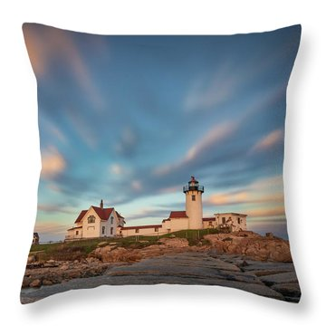Eastern Point Lighthouse At Sunset Throw Pillow