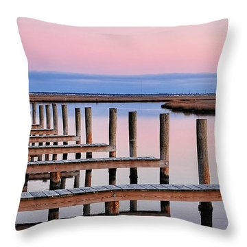 Eastern Shore On The Docks Throw Pillow by Lara Ellis