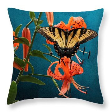 Eastern Tiger Swallowtail Butterfly On Orange Tiger Lily Throw Pillow