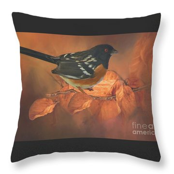 Spotted Towhee In Autumn Throw Pillow