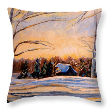 Eastern Townships In Winter Throw Pillow by Carole Spandau