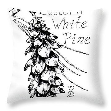 Eastern White Pine Cone On A Branch Throw Pillow