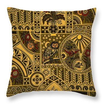 Eastlake Gilt Victorian Tapestry With Owl Throw Pillow