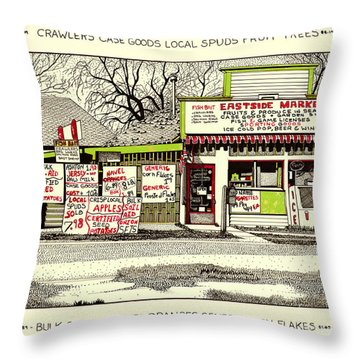Throw Pillow featuring the painting Eastside Market by Chholing Taha