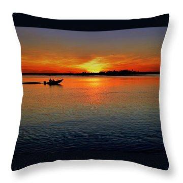 Easy Sunday Sunset Throw Pillow