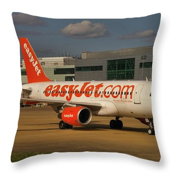 Throw Pillow featuring the photograph Easyjet Airbus A319-111  by Tim Beach