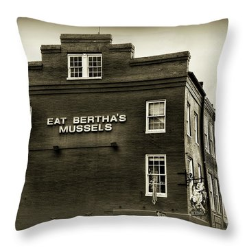 Eat Berthas Mussels In Black And White Throw Pillow by Paul Ward