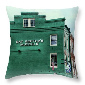 Eat Berthas Mussels  Throw Pillow by Paul Ward