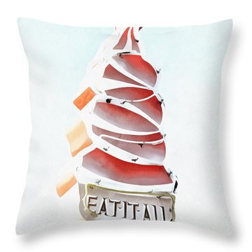 Throw Pillow featuring the digital art Eat It All Soft Serve Ice Cream by Edward Fielding
