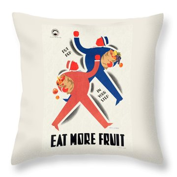 Eat More Fruit - Vintage Poster Restored Throw Pillow