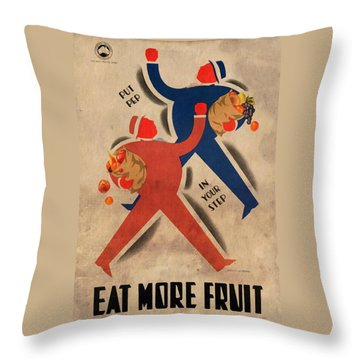Eat More Fruit - Vintage Poster Vintagelized Throw Pillow