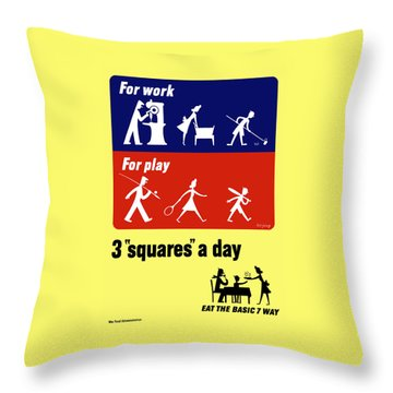Eat The Basic 7 Way Throw Pillow by War Is Hell Store