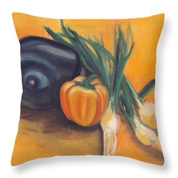 Throw Pillow featuring the painting Eat Your Vegetables by Shawna Rowe