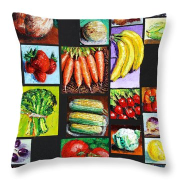 Eat Your Vegies And Fruit Throw Pillow by John Lautermilch