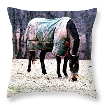 Eatin' Snowy Grass Throw Pillow