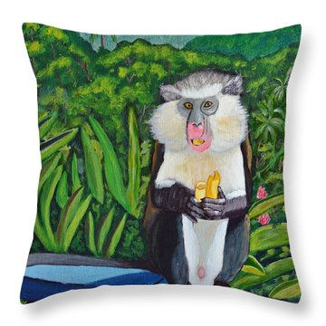 Throw Pillow featuring the painting Eating A Banana by Laura Forde